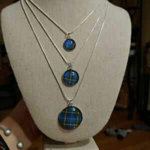 Handmade Nova Scotia Tartan jewelry pendant and chain