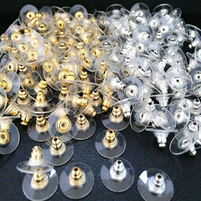 (100pc Gold/Silver Plastic Metal Earring Backs Stoppers Stud Ear Post Nut Finding)