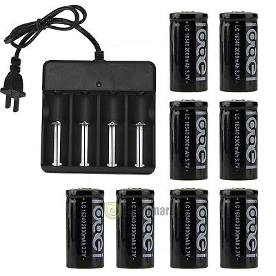 8Pcs Cr123a 123A Cr123 16340 2000Mah Rechargeable Battery Bty Black   Ul Charger