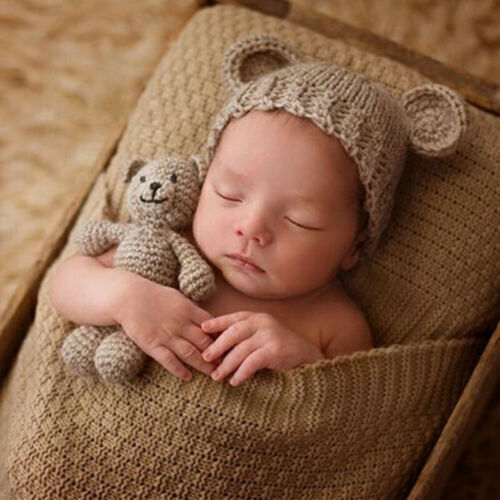 Newborn Studio Photography Props Kids Baby Hand Woven Knit Hat Bear Doll Suit