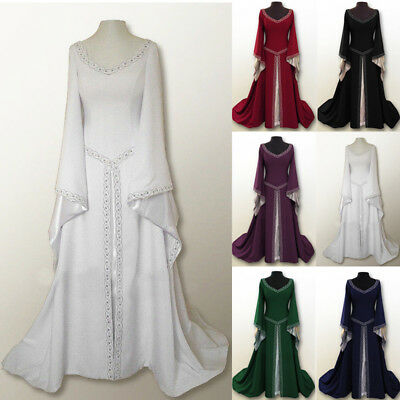 Women Medieval Renaissance Maxi Dress Flare Sleeve Gown Halloween Party Costume - Halloween Party Dress