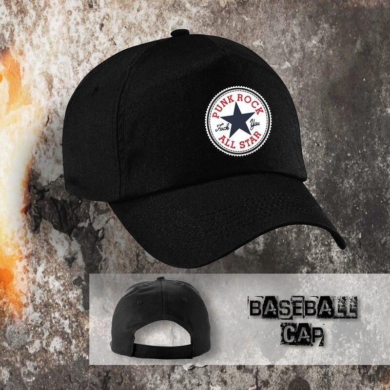 Basecap schwarz Motiv Punkrock Allstars, 100% Baumwolle