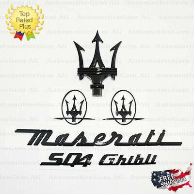 Maserati Emblem Ghibli SQ4 Grille Trident Side Logo Black Badge Set Sticker Kit