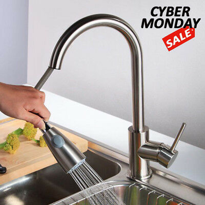 Brushed Nickel Kitchen Faucet Stretch Out Sprayer Single Hole Swivel Sink Mixer Tap