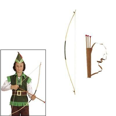 Pfeil und Bogen mit 3 Pfeilen Kinderbogen Holz 100cm - für Indianer Räuber #3935 (Spielzeug Pfeil Und Bogen)