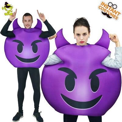 Purple Devil Costumes (Men Emoticon Devil Costume Adult Purple Emoticon Jumpsuit Party Cosplay)