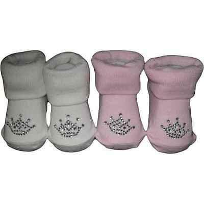 Princess Crown Socks - CUTE PRINCESS CROWN BABY SOCKS  0-6 MONTHS PINK OR WHITE