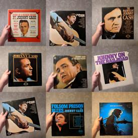 9 x Johnny Cash vinyl records LP vtg all for 20 pounds prison country