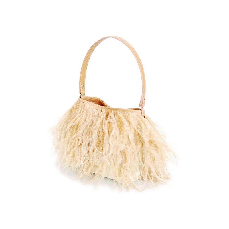 Rarity Bags,Handtasche,Federbag,Tasche mit Straussenfedern,Federn,Ostrich ivory