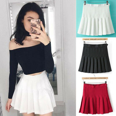 Fashion Mini Skirt (US Fashion Women Tennis Sexy Pleated Mini Skirt School Girl Skater Skirt)