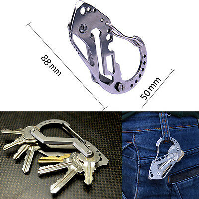 EDC Stainless Multi Tool Keychain Key Holder Wrench Quickdraw Carabiner Gu_DM