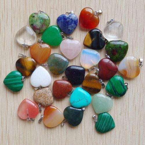 Wholesale mix natural heart stone pendant Gemstone Silver P Bead pendants 100pcs