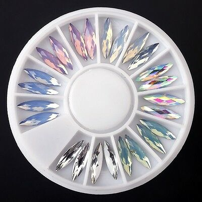 Nail Art Acrylic 3D Glitter Charms Crystal Rhinestone Tips DIY Decoration Wheel