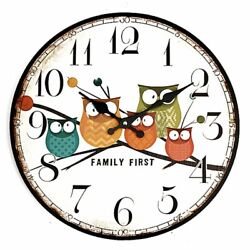 2020 Wooden Owl Wall Clock Large Vintage Rustic Shabby Retro Kitchen Home Decor