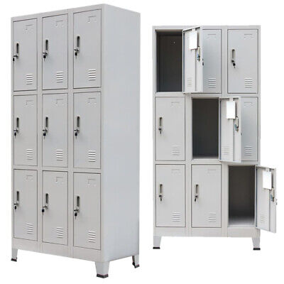 Metal Locker Cabinet With 9 Compartments Mirror Key Steel Storage Gym Office