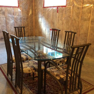 Custom made glass dining table and 6 chairs