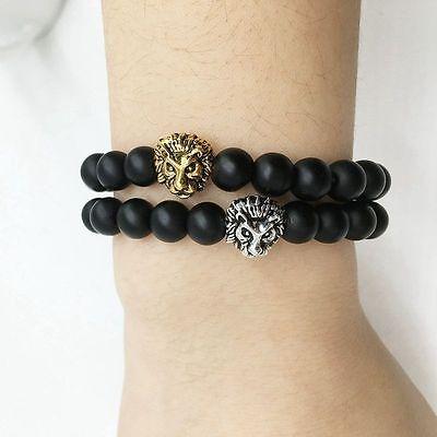 Men Fashion Black Lava Stone Gold&Silver Lion Beaded Cuff Charm Bangle Bracelet Bracelets