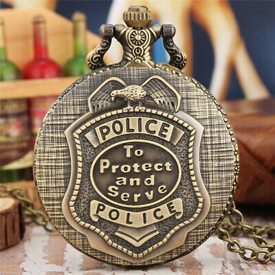 Vintage Pocket Watch New Protect And Serve Police Bronze Chain Necklace Gift New