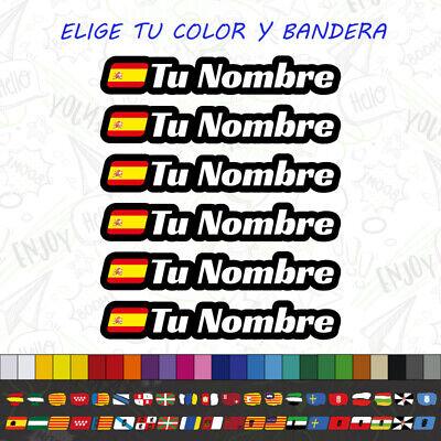 6x BANDERA + NOMBRE PEGATINA VINILO CASCO BTT BICICLETA PERSONALIZABLE CARRERA
