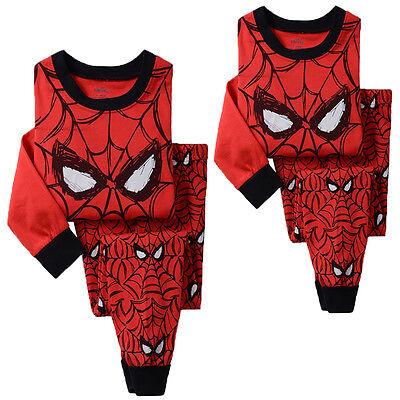 Spider Man Pants (US Kids Boys Spider man Top T-shirt+Pants Outfit Pajama Sleepwear Nightwear Set )