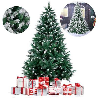 6ft Snow Flocked Christmas Tree with Stand Snow Green White Xmas Tree Decor 1.8M ()