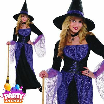 Womens Pretty Potion Witch Halloween Costume Fancy Dress Outfit Adult (Pretty Witch Kostüme)