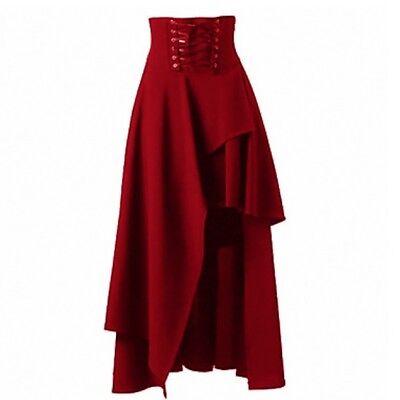 Women Lolita Princess Dress Ruffle Long Skirt Gothic Vintage Dolly Victorian Red