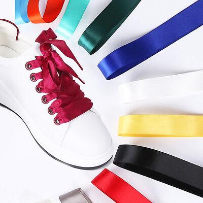 Ribbon Shoe Laces (Sport Shoelaces Bootlace Shoe Laces Flat String 2cm Wide  Ribbon)
