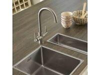 Azure kitchen sink brushed steel mixer tap