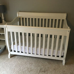 White crib and dresser/change table
