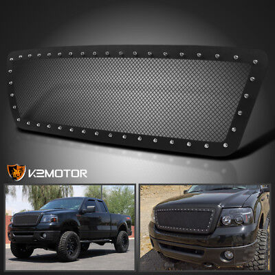 2004-2008 Ford F150 Black Textured Rivet Style Upper Front Hood Grille Insert