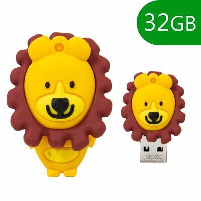 MEMORIA USB PENDRIVE USB FLASH 32GB DIBUJOS TEMATICO 3D LEON LION ANIMALES...