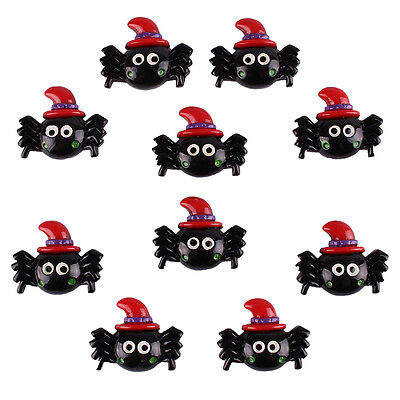 Lot 10pcs Halloween Party Spider with Red Hat Resin Flatback Hair Bow Craft - Halloween Hair Bow Embellishments