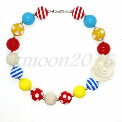 Colour Chunky Beads Bubblegum Gumball Necklace  X-mas Gift White flower Jewlery (Bubblegum Necklace Beads)