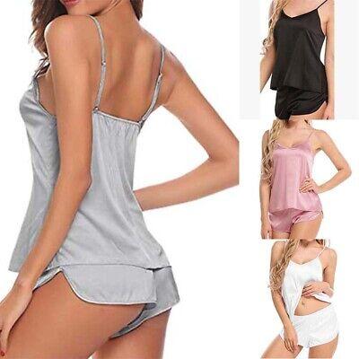 Casual Satin Lingerie Babydoll Sexy Cami Solid Pajama Sleepwear Women Shorts -
