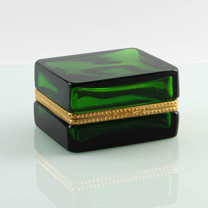 Vintage French box casket golden polished metal square clear green #01