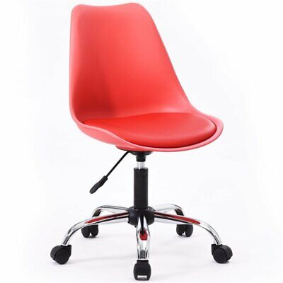 Hodedah Armless Office Chair With Seat Cushion In Red