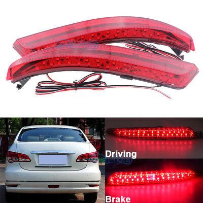 Red LED Rear Bumper Light Reflector Brake Lamps For Nissan Sylphy Wingroad Almer