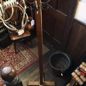 Vintage wooden floor standing coat hooks