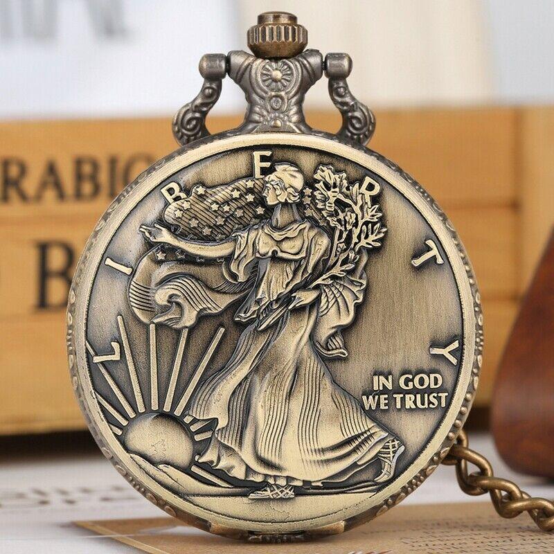 Bronze Analog Pendant Chain Watch American Coin Morgan Quartz Pocket Watch Gifts