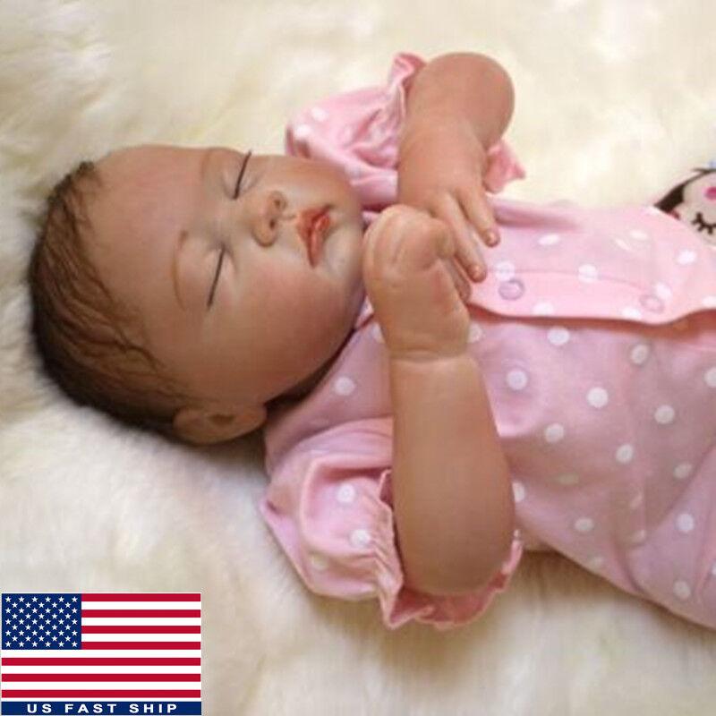 "20"" Reborn Baby Handmade Newborn Doll Girl Lifelike Vinyl Silicone Sleeping Toy"
