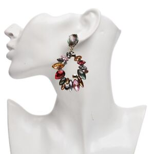 ZARA  Jewel  Earrings Colourful Rhinestone Statement  Flower Spring 2018
