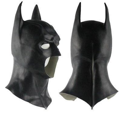 maschera Batman silicone pelle viso testa faccia lattice gomma carnevale cosplay