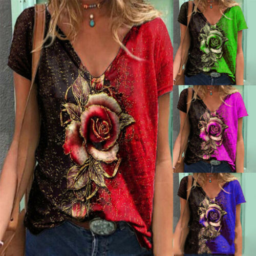 Women Short Sleeve V Neck Floral Printing T Shirt Casual Blouse Loose Tunic Tops