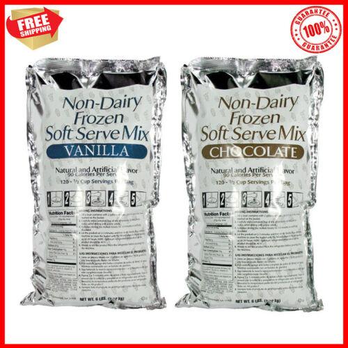 (Case of 6) 6 lb. Non-Dairy Soft Serve Ice Cream Mix Vanilla / Chocolate Flavour