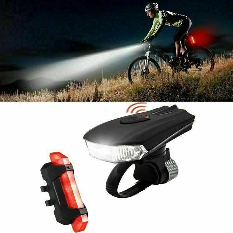 Bicycle Cycling Headlight Mountain Bike Front Rear Lamp Taillight USB Charging