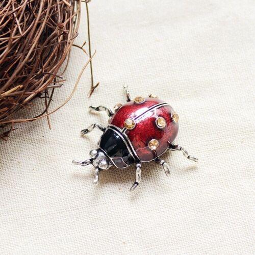 Vintage Style Rhinestone Insect Brooch Ladybugs Enamel Pin Women Wedding Jewelry