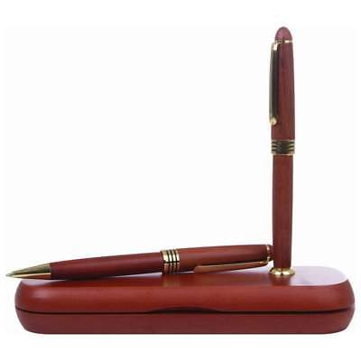 - Rosewood BALLPOINT PEN & PENCIL SET Twist Action Office Writing Stationery Wood
