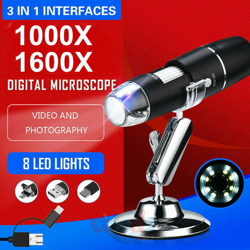 3-IN-1 USB Digital Microscope Endoscope 8LED 1600X 10MP Magnifier Camera + Stand