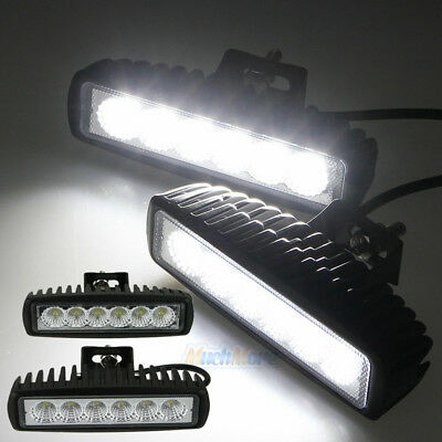 2PCS 6INCH 18W LED WORK LIGHT BAR FLOOD DRIVING LIGHTS OFFROAD FOG 4WD BOAT UTE